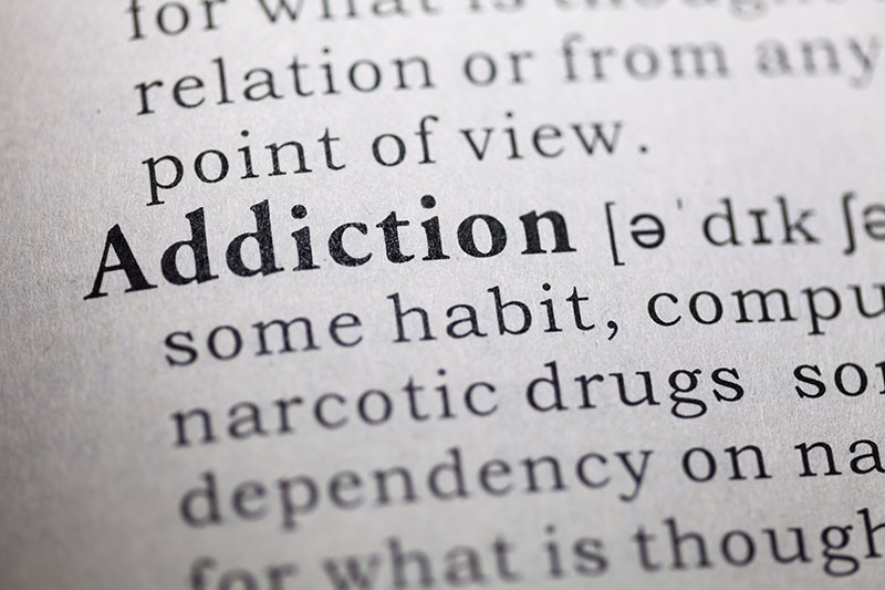 Dictionary definition of the word Addiction.